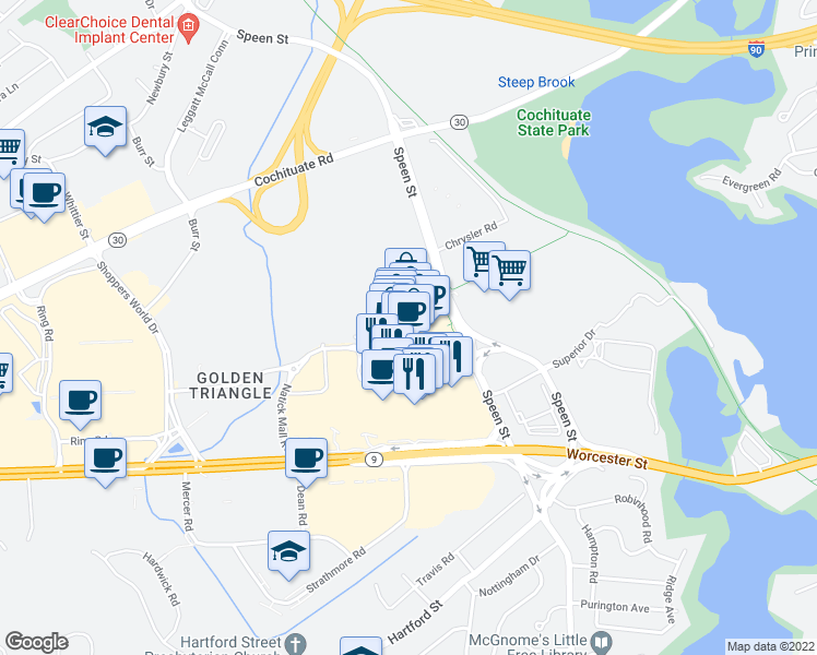 map of restaurants, bars, coffee shops, grocery stores, and more near 40 Nouvelle Way in Natick