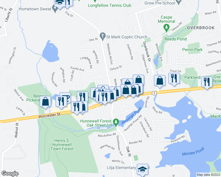 map of restaurants, bars, coffee shops, grocery stores, and more near 98 Oak Street in Natick