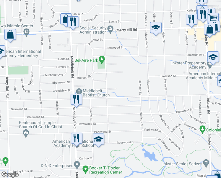map of restaurants, bars, coffee shops, grocery stores, and more near 28750 Avondale Street in Inkster