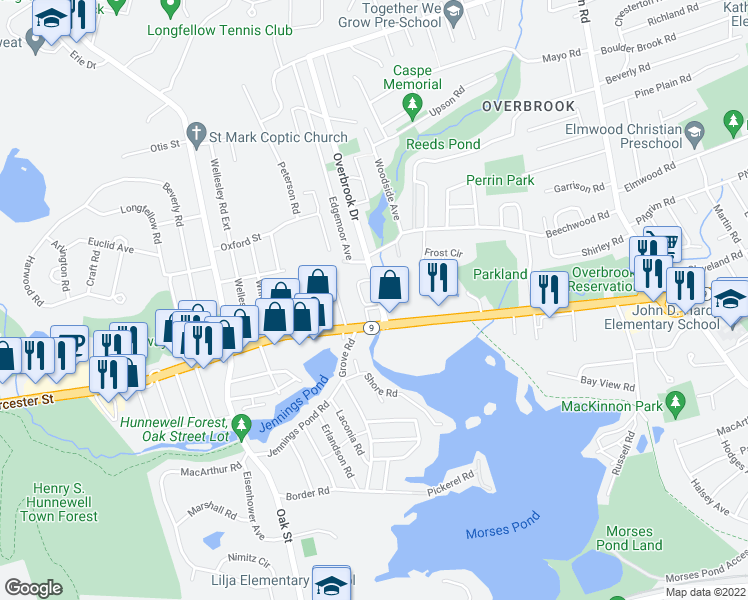 map of restaurants, bars, coffee shops, grocery stores, and more near 5 Edgemoor Circle in Wellesley