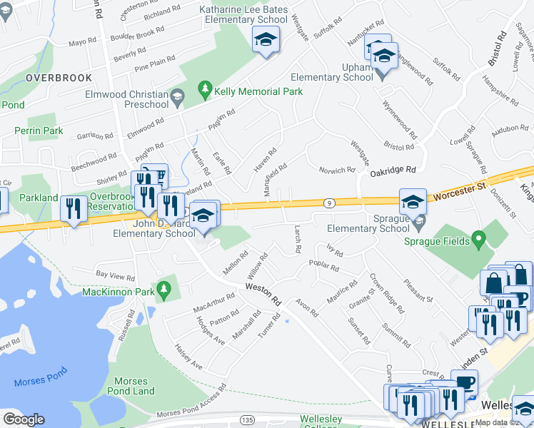 map of restaurants, bars, coffee shops, grocery stores, and more near 798 Worcester Street in Wellesley