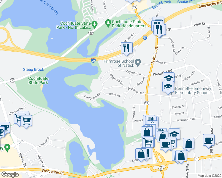 map of restaurants, bars, coffee shops, grocery stores, and more near 40 Evergreen Road in Natick