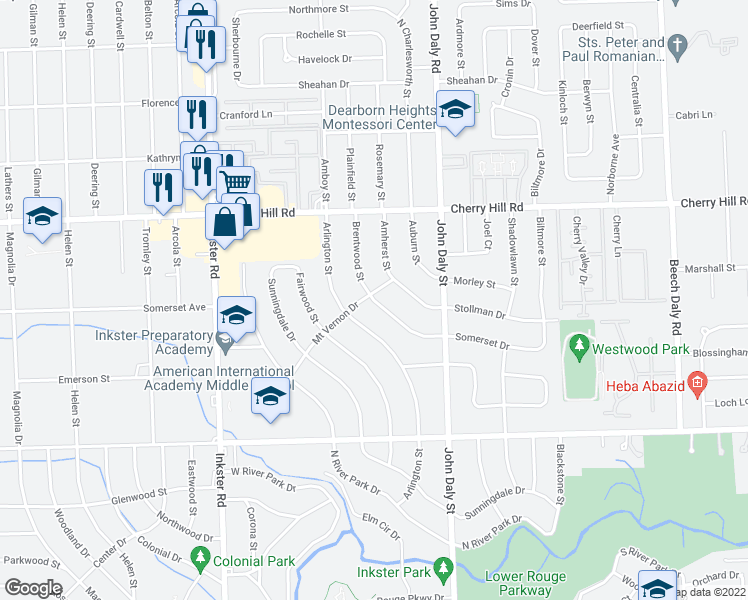map of restaurants, bars, coffee shops, grocery stores, and more near Brentwood Street in Inkster
