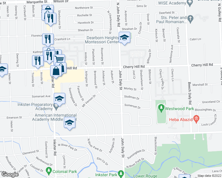 map of restaurants, bars, coffee shops, grocery stores, and more near 323 Amherst Street in Inkster