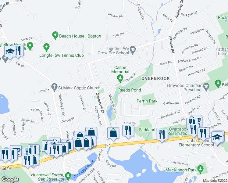 map of restaurants, bars, coffee shops, grocery stores, and more near 3 Upson Road in Wellesley