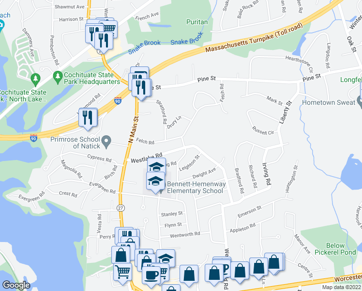 map of restaurants, bars, coffee shops, grocery stores, and more near 43 Westlake Rd in Natick
