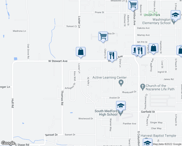 map of restaurants, bars, coffee shops, grocery stores, and more near 1836 Layla Drive in Medford