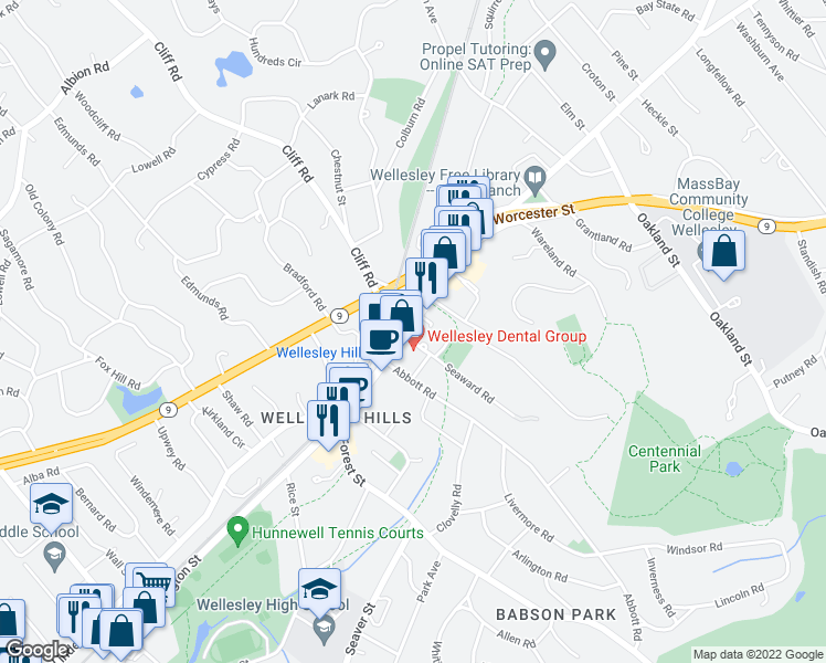 map of restaurants, bars, coffee shops, grocery stores, and more near 2-10 Seaward Road in Wellesley