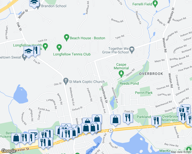 map of restaurants, bars, coffee shops, grocery stores, and more near 73 Edgemoor Avenue in Wellesley