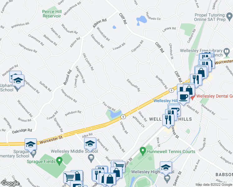 map of restaurants, bars, coffee shops, grocery stores, and more near 21 Old Colony Road in Wellesley