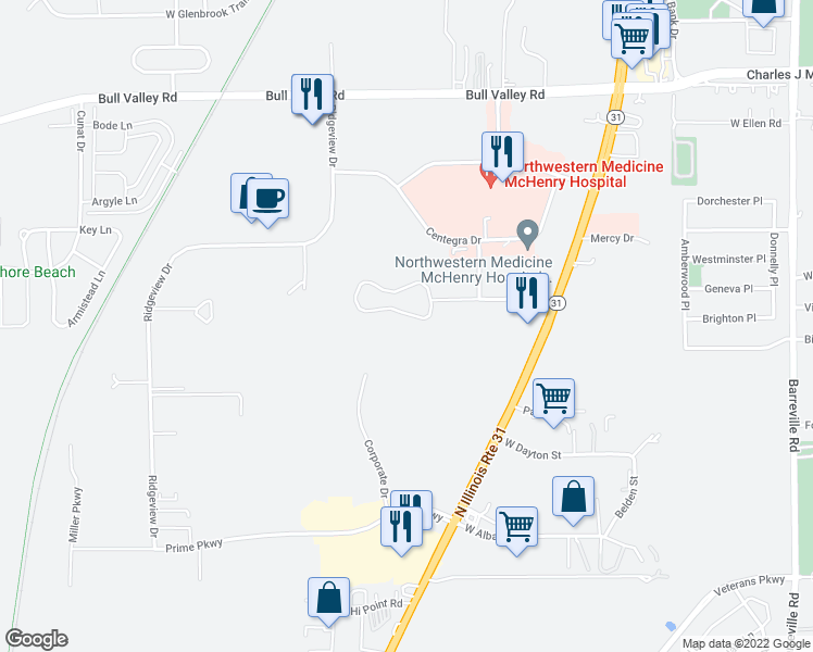 map of restaurants, bars, coffee shops, grocery stores, and more near 4313 West Shamrock Lane in McHenry