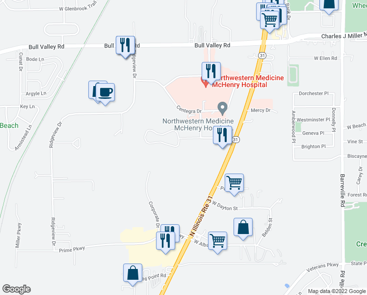 map of restaurants, bars, coffee shops, grocery stores, and more near 4305 West Shamrock Lane in McHenry