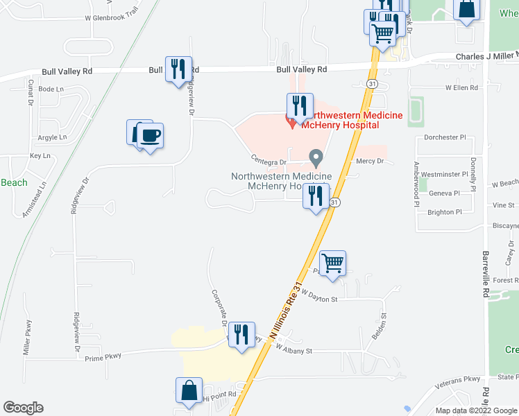 map of restaurants, bars, coffee shops, grocery stores, and more near 4301 West Shamrock Lane in McHenry