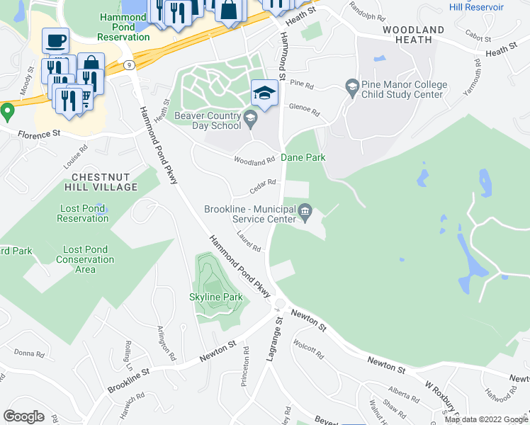 map of restaurants, bars, coffee shops, grocery stores, and more near 30 Aston Road in Brookline