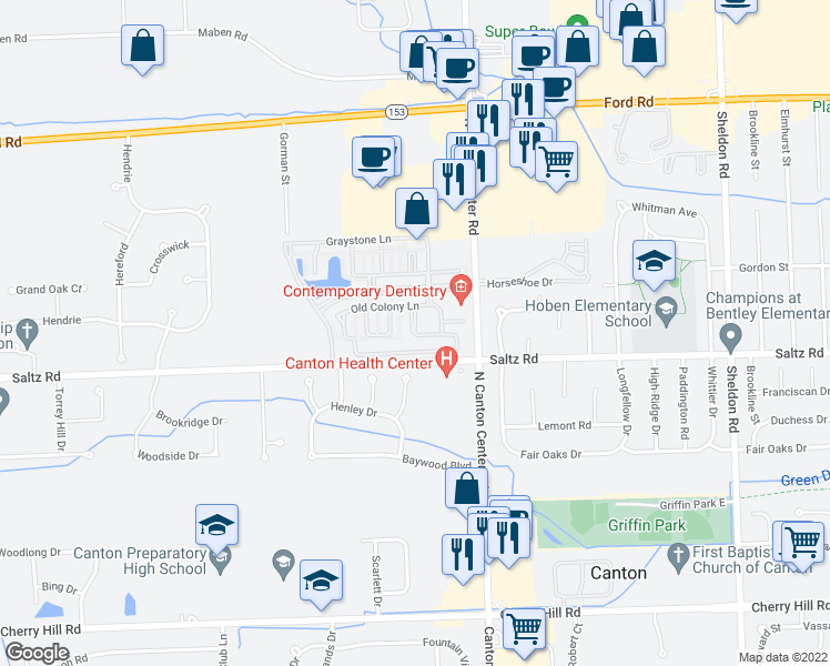 map of restaurants, bars, coffee shops, grocery stores, and more near 1184 Orchid Circle in Canton