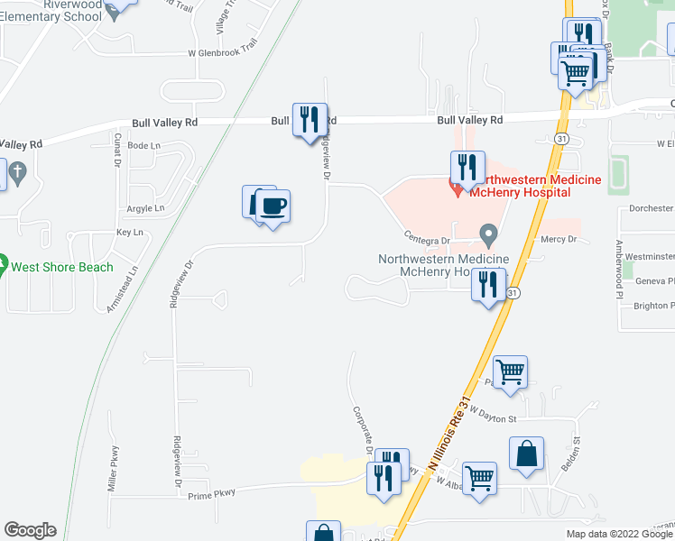map of restaurants, bars, coffee shops, grocery stores, and more near 4404 West Shamrock Lane in McHenry