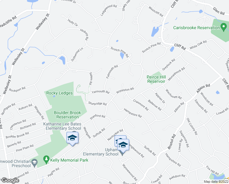 map of restaurants, bars, coffee shops, grocery stores, and more near 38 Royalston Road in Wellesley