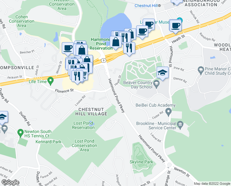 map of restaurants, bars, coffee shops, grocery stores, and more near 271 Hammond Pond Parkway in Brookline