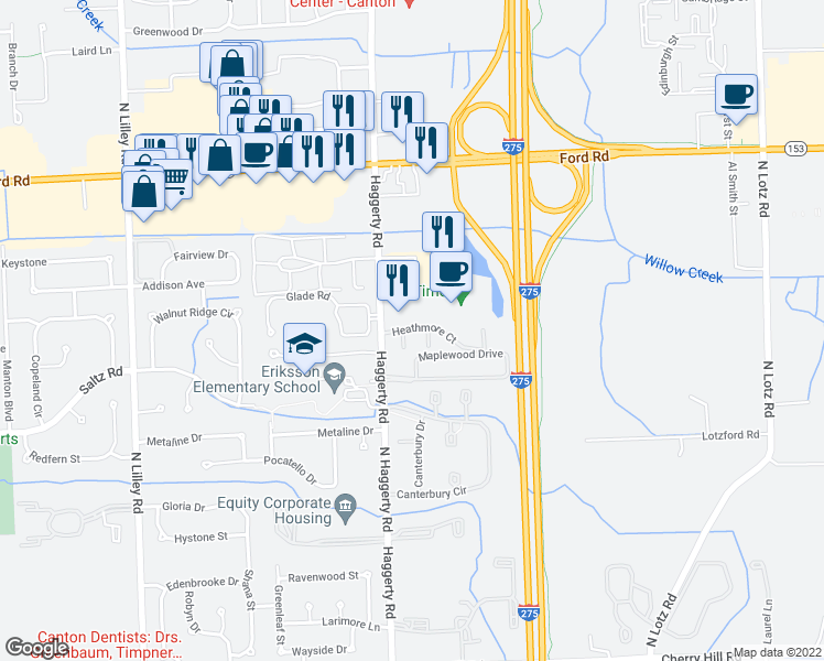 map of restaurants, bars, coffee shops, grocery stores, and more near 41000-41068 Heathmore Court in Canton