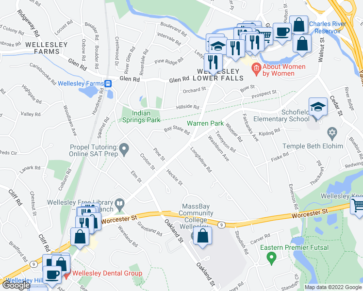 map of restaurants, bars, coffee shops, grocery stores, and more near 121 Washington Street in Wellesley