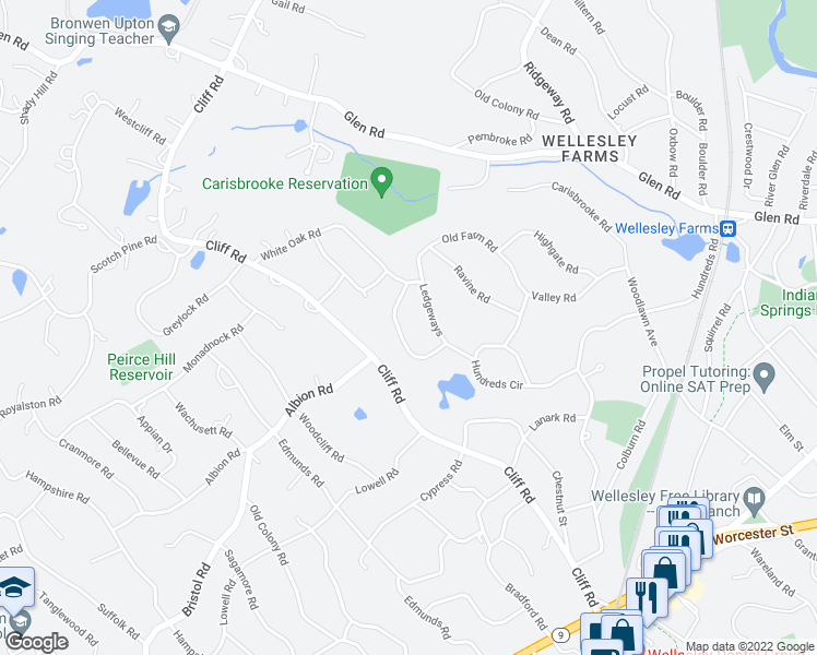 map of restaurants, bars, coffee shops, grocery stores, and more near 62 Ledgeways in Wellesley