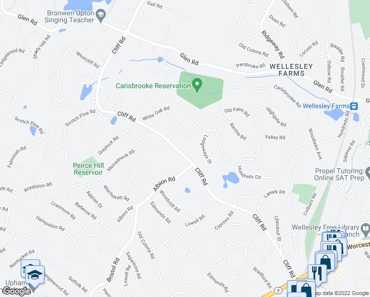 map of restaurants, bars, coffee shops, grocery stores, and more near 165 Cliff Rd in Wellesley