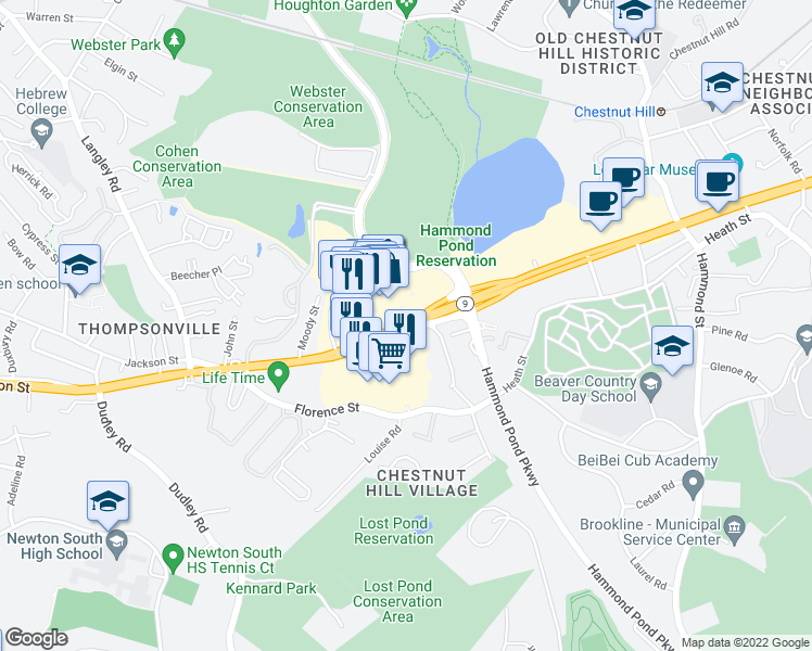 map of restaurants, bars, coffee shops, grocery stores, and more near 219 Boylston Street in Newton