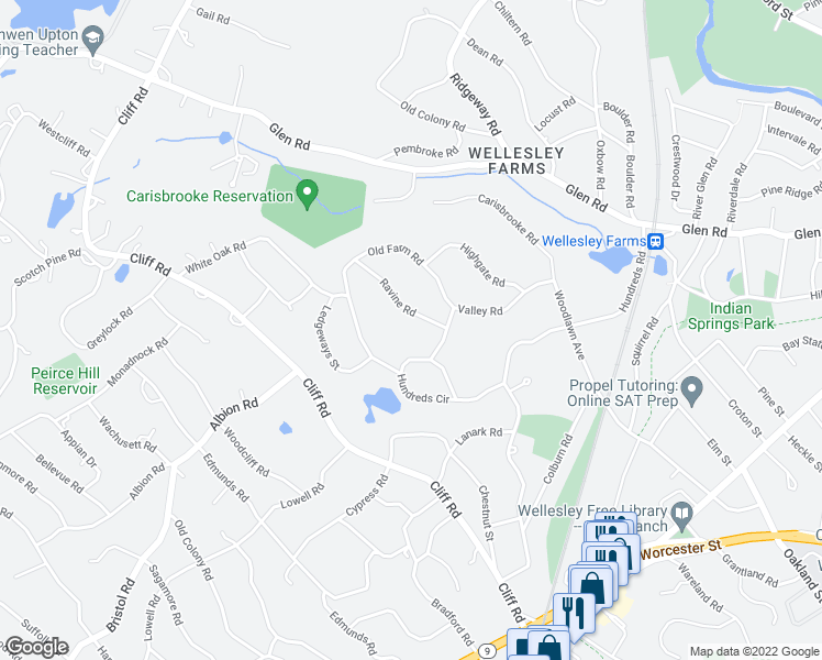 map of restaurants, bars, coffee shops, grocery stores, and more near 45 Ravine Road in Wellesley