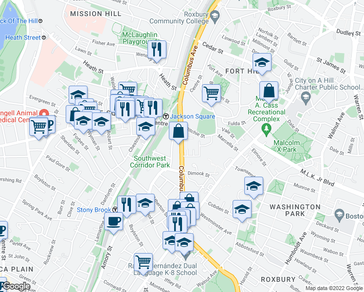 map of restaurants, bars, coffee shops, grocery stores, and more near 2 Academy Road in Boston