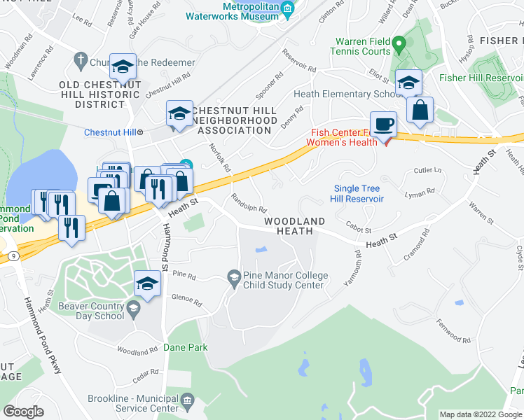 map of restaurants, bars, coffee shops, grocery stores, and more near 69 Randolph Road in Brookline