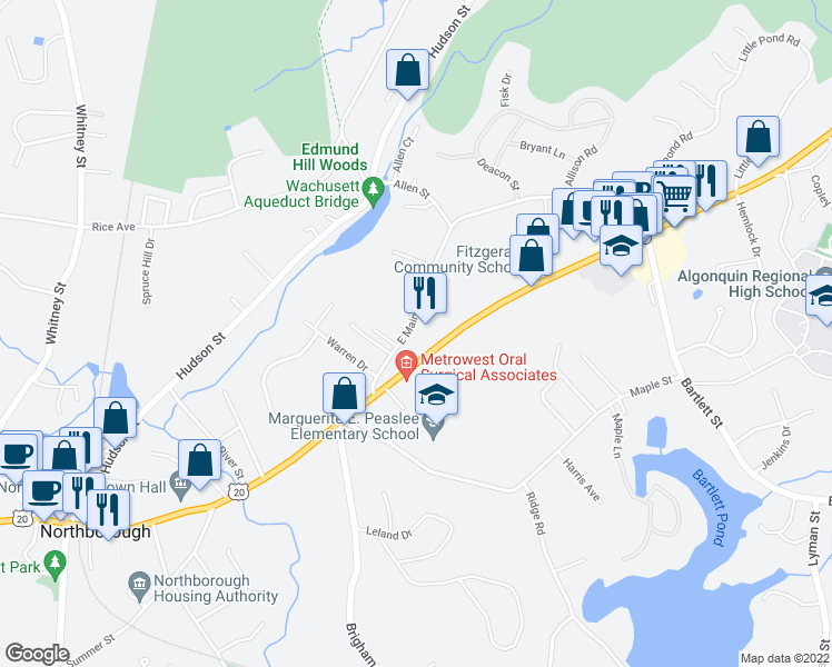 map of restaurants, bars, coffee shops, grocery stores, and more near 36 E Main St in Northborough