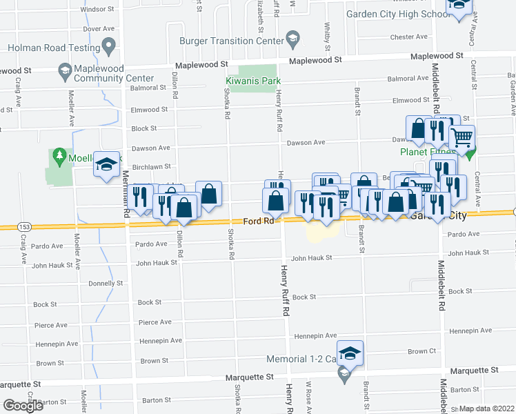 map of restaurants, bars, coffee shops, grocery stores, and more near 30537 Krauter Street in Garden City