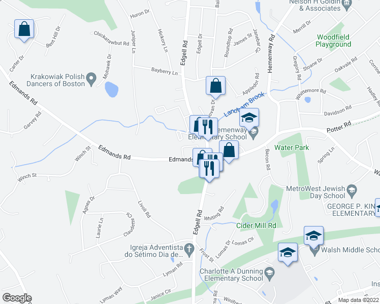 map of restaurants, bars, coffee shops, grocery stores, and more near 15 Edmands Road in Framingham