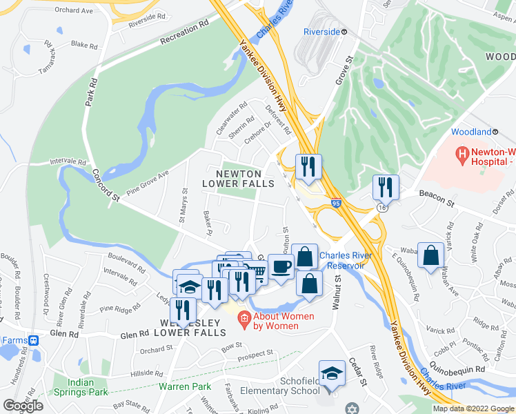 map of restaurants, bars, coffee shops, grocery stores, and more near 576 Grove Street in Newton