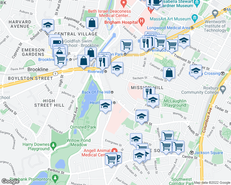 map of restaurants, bars, coffee shops, grocery stores, and more near 100 South Huntington Avenue in Jamaica Plain