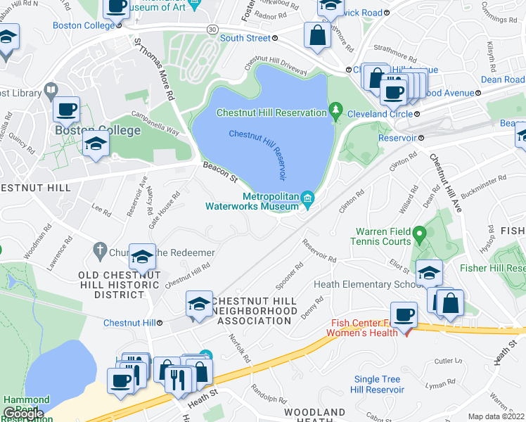 map of restaurants, bars, coffee shops, grocery stores, and more near 28 Beacon Street in Boston