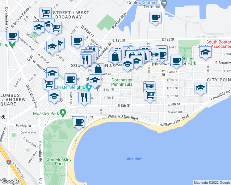 map of restaurants, bars, coffee shops, grocery stores, and more near 8 Colebrook Street in Boston