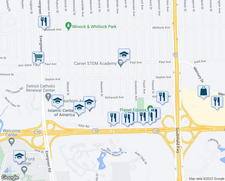 map of restaurants, bars, coffee shops, grocery stores, and more near 6058 Artesian Street in Detroit