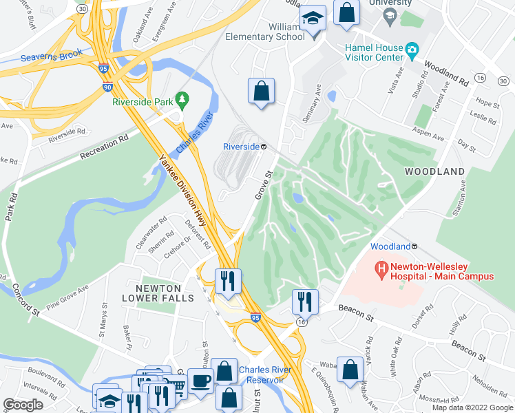 map of restaurants, bars, coffee shops, grocery stores, and more near in Newton