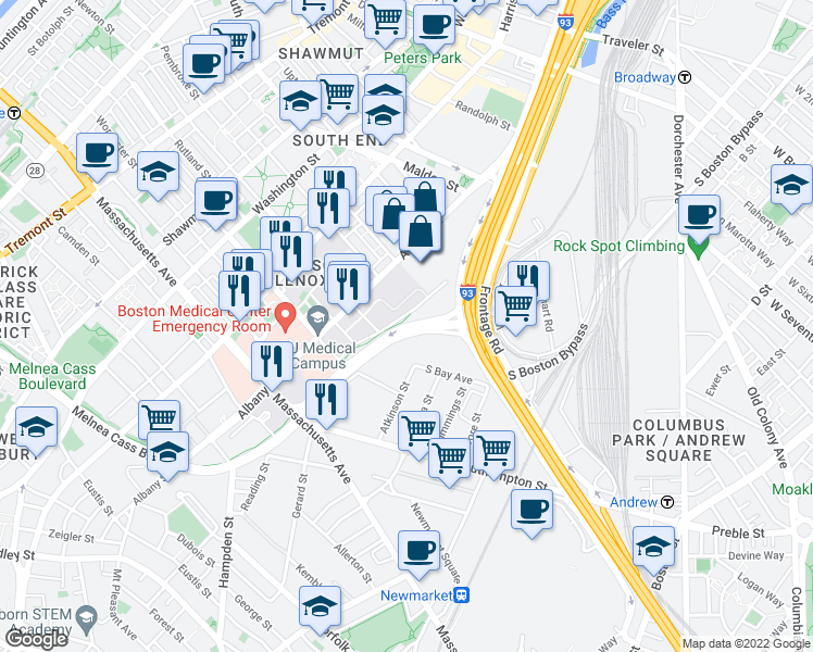 map of restaurants, bars, coffee shops, grocery stores, and more near Massachusetts Avenue Connector in Boston