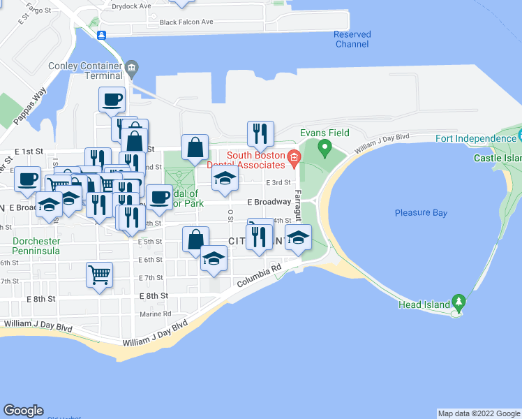 map of restaurants, bars, coffee shops, grocery stores, and more near 81 P Street in Boston