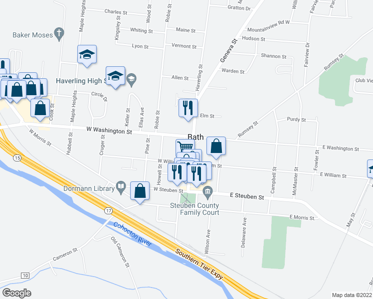 map of restaurants, bars, coffee shops, grocery stores, and more near 117 Liberty St in Bath