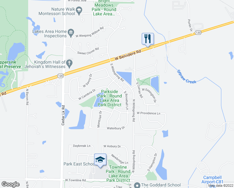 map of restaurants, bars, coffee shops, grocery stores, and more near 643 South Parkside Drive in Round Lake