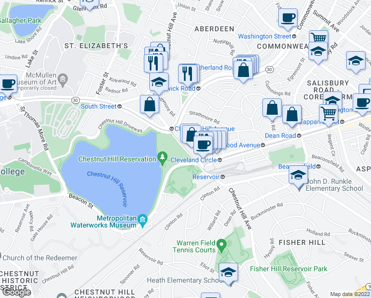 map of restaurants, bars, coffee shops, grocery stores, and more near Chestnut Hill Avenue in Boston