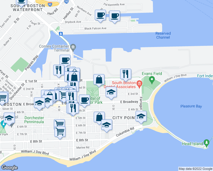 map of restaurants, bars, coffee shops, grocery stores, and more near 828 East 2nd Street in Boston