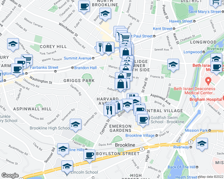 map of restaurants, bars, coffee shops, grocery stores, and more near Auburn Street in Brookline