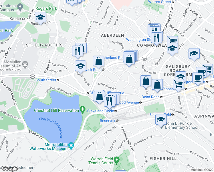 map of restaurants, bars, coffee shops, grocery stores, and more near Strathmore Rd & Chiswick Rd in Boston