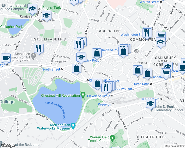 map of restaurants, bars, coffee shops, grocery stores, and more near Commonwealth Avenue & Strathmore Rd in Boston