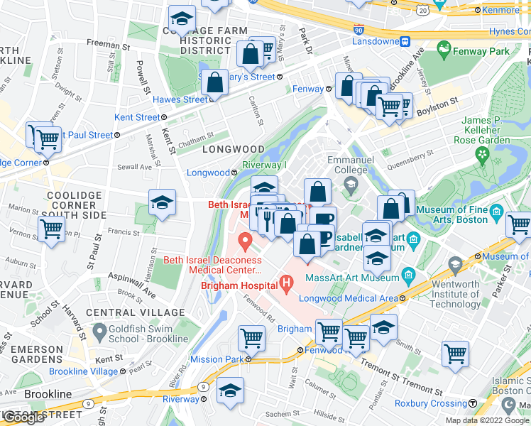 map of restaurants, bars, coffee shops, grocery stores, and more near 103-117 Pilgrim Road in Boston