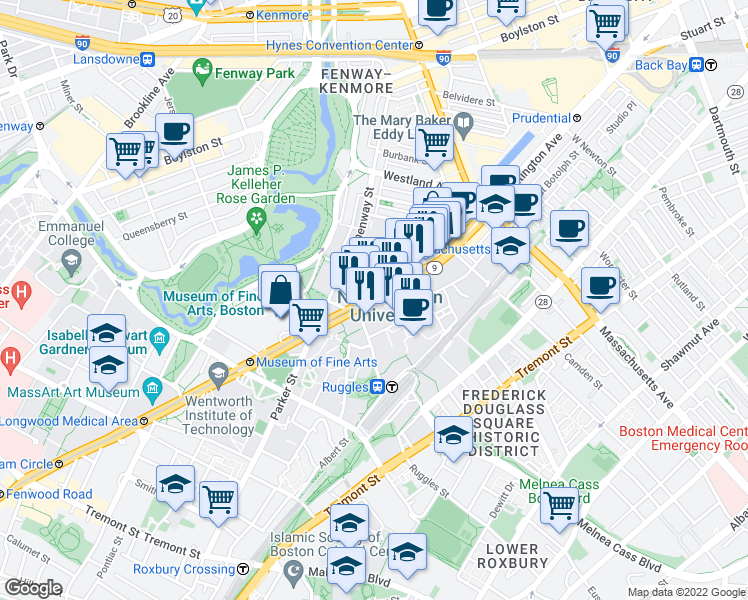 map of restaurants, bars, coffee shops, grocery stores, and more near in Boston